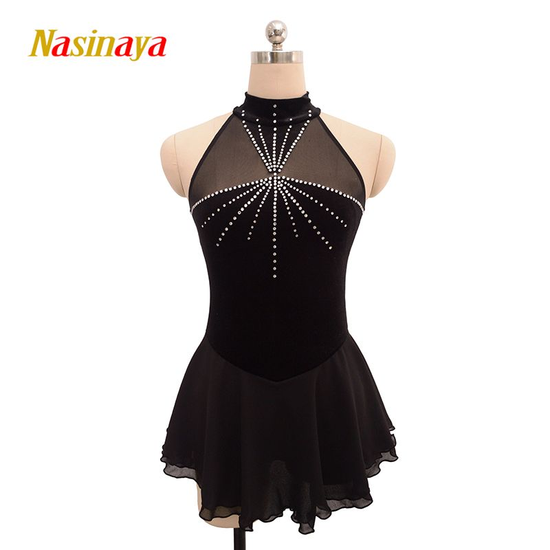 Customized Costume Ice Skating Figure Skating Dress Gymnastics Adult Girl Show Skirt Performance Competition polyamide shiny
