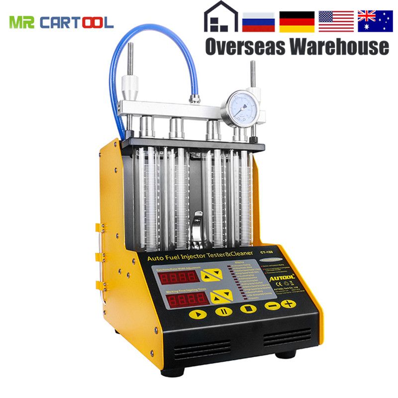 AUTOOL CT150 Car Fuel Injector Tester Cleaning Machine Injector Cleaner Test Ultrasonic Gasoline Auto Tool 110V 220V 4 Cylinders