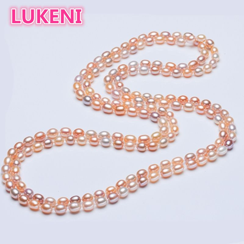 Genuine 100% natural pearl 160cm necklace Multicolor color 6-7mm freshwater pearl sweater chain fashion necklace For women