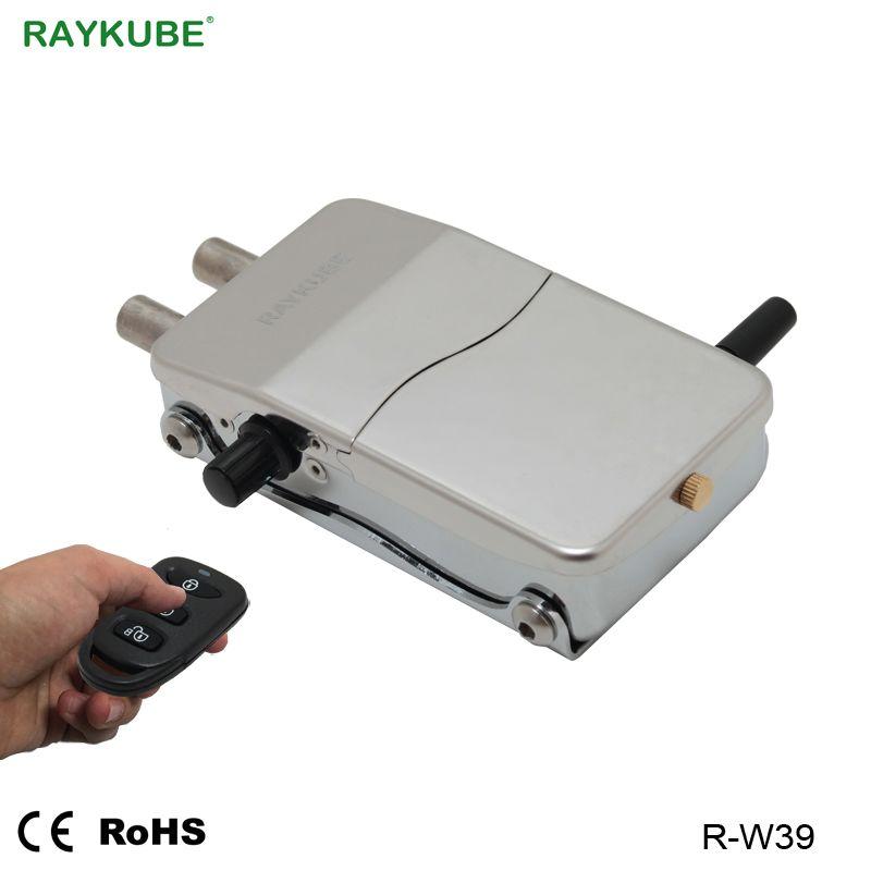RAYKUBE Elektronische Türschloss Keyless Drahtlose Fernbedienung Intelligente Sperre Invisible Für Home Security DIY Kit R-W39