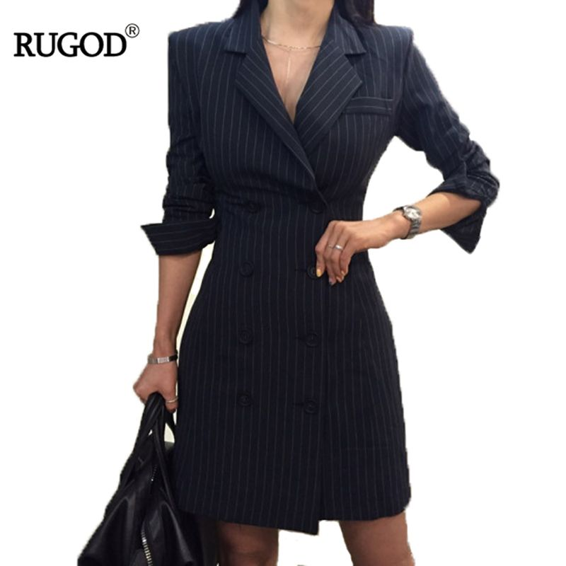 RUGOD 2018 New Office Lady Long Sleeve Profession Women Dress Empire Straight Striped Double Button Turn-down Collar Mini Dress