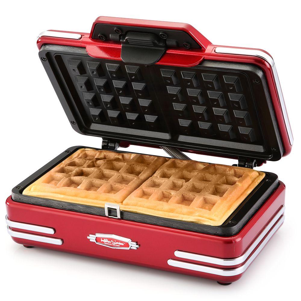 NOSTALGIA ELECTRICS RWM200 Two-Piece Waffle Maker With Nonstick Grid Breakfast Dessert Maker