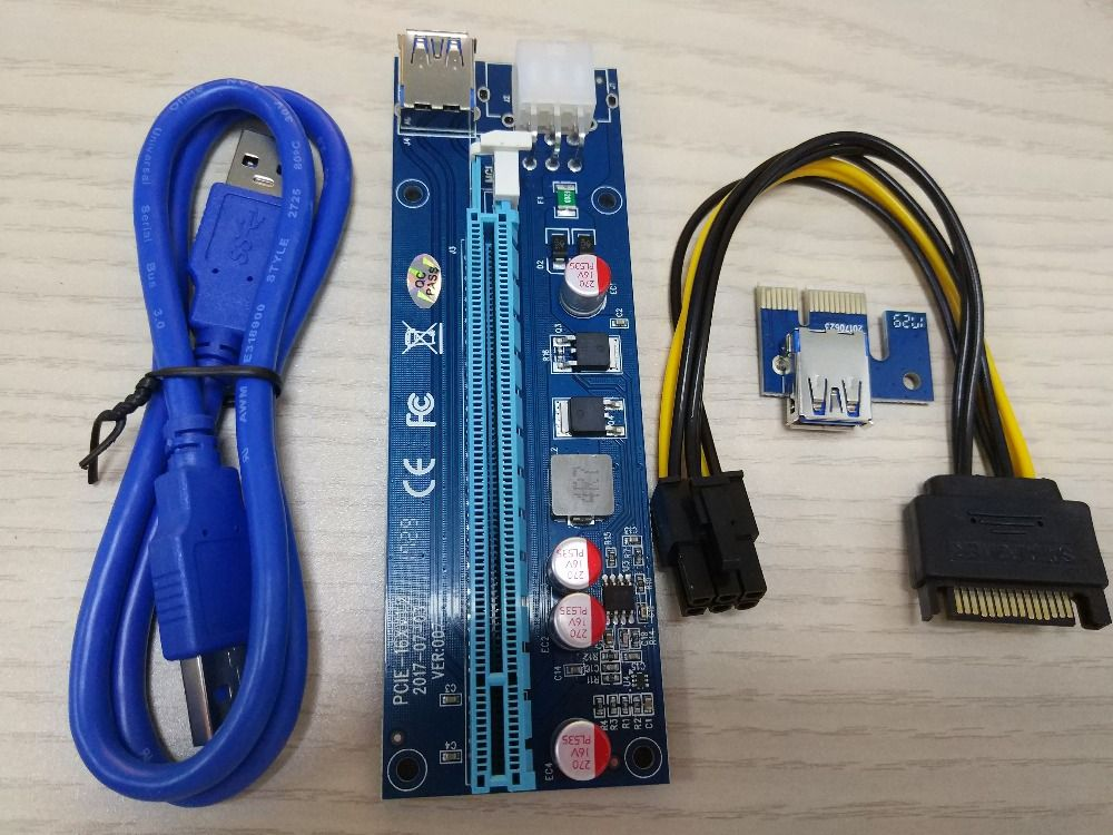 50 шт. оптовая продажа 6pin PCIe Riser 1x к 16x имеет большой ток двойной MOS трубки может работать 24 часа, малый лихорадка