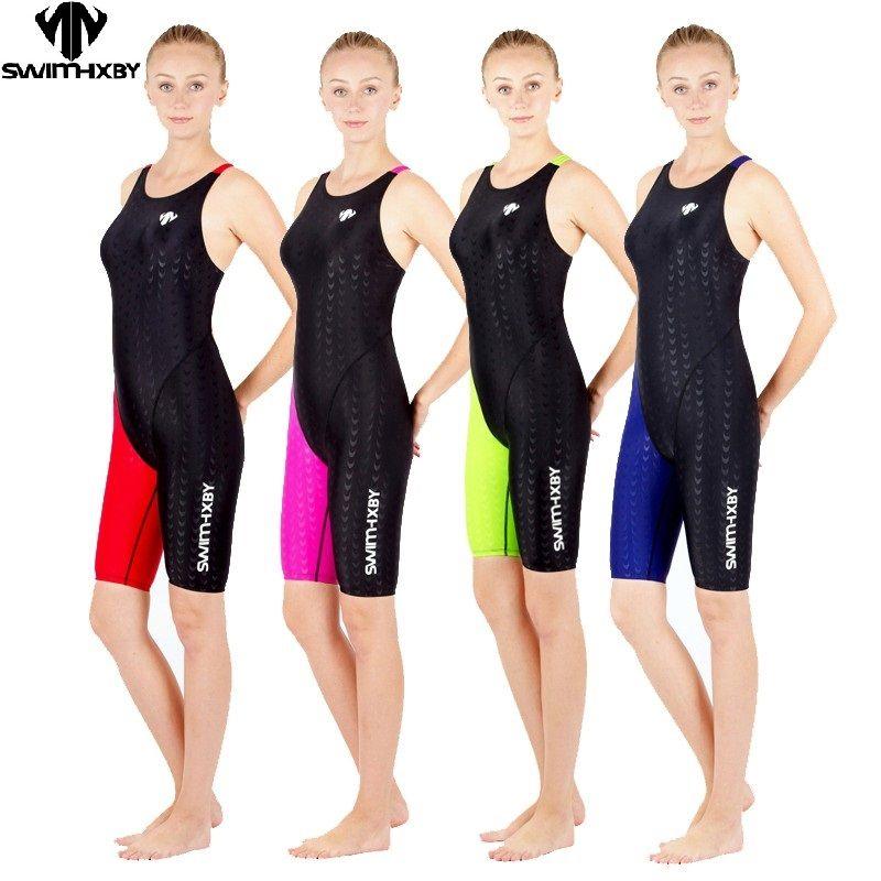 HXBY maillots de bain filles course maillots de bain sharkskin maillots de bain professionnels genou une pièce compétition maillots de bain une pièce