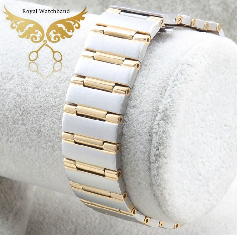 22mm*14mm Silver With Gold Men Style High Quality Polished Stainless Steel Watch Band Strap Bracelet Depolyment Steel Buckle