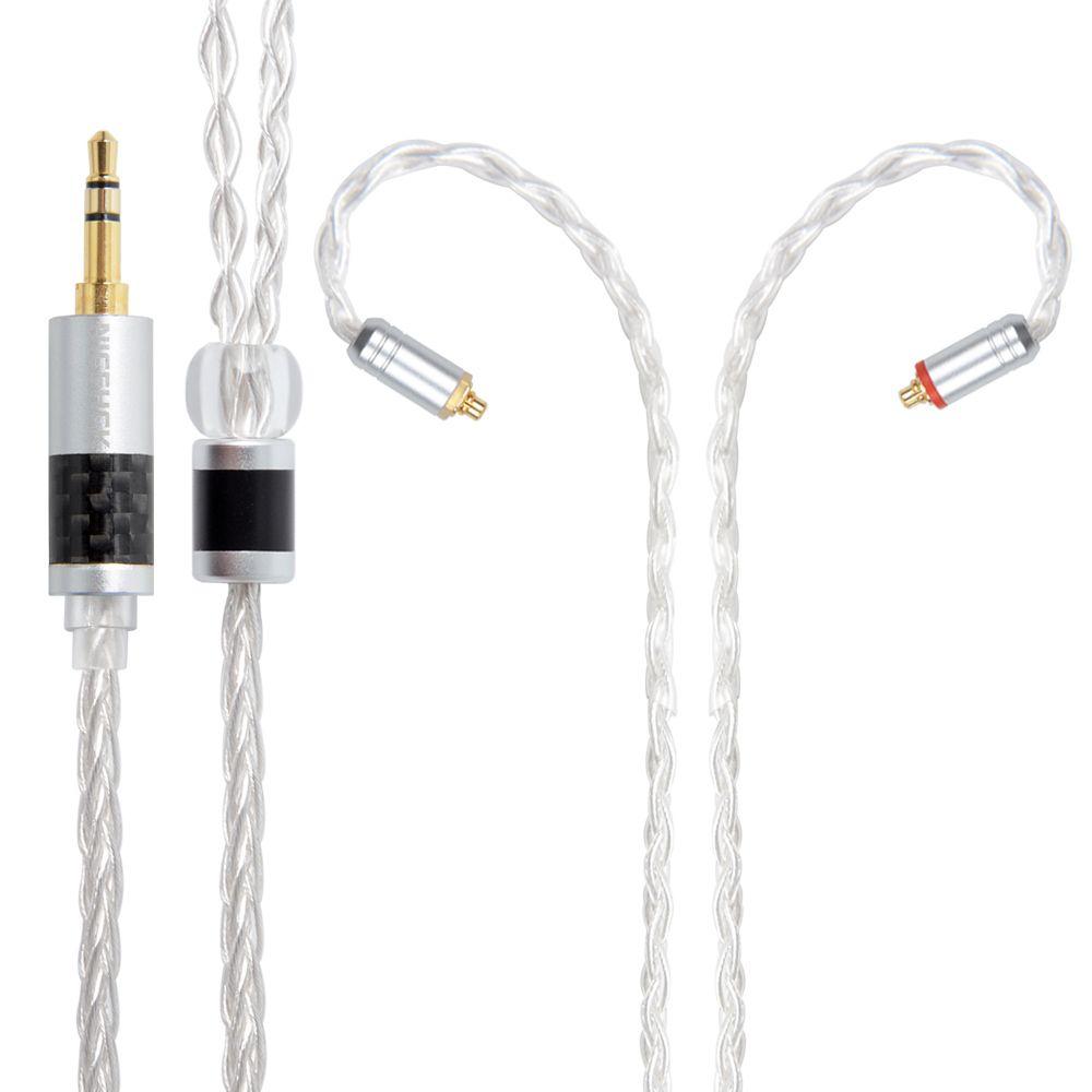 NICEHCK 8 Kerne Reinem Silber Kabel 3,5/2,5/4,4mm Stecker MMCX/2Pin Stecker Kopfhörer Upgrade Kabel für BA10 NICEHCK M6/N3 CCA C16