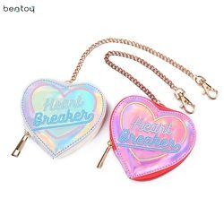 Bentoy Corea chic mujeres corazón holograma láser billetera pu pequeño monedero cremallera embrague monedero tarjeta bancaria titulares bolsa bolsa