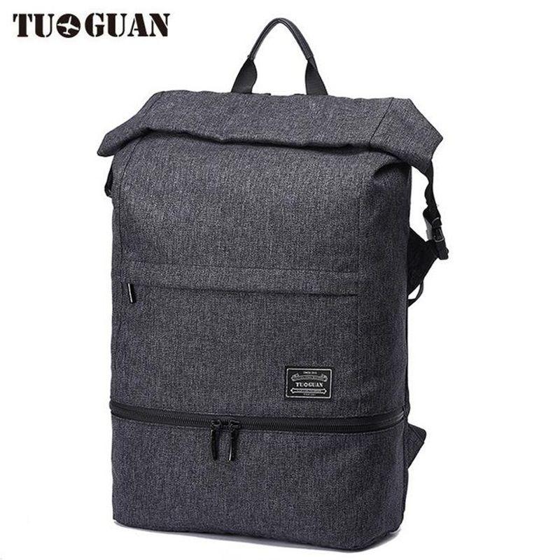 TUGUAN бренд Для мужчин рюкзак anti theft Водонепроницаемый ноутбук рюкзак черный холст школьная сумка для Колледж студент Обувь для мальчиков пут...