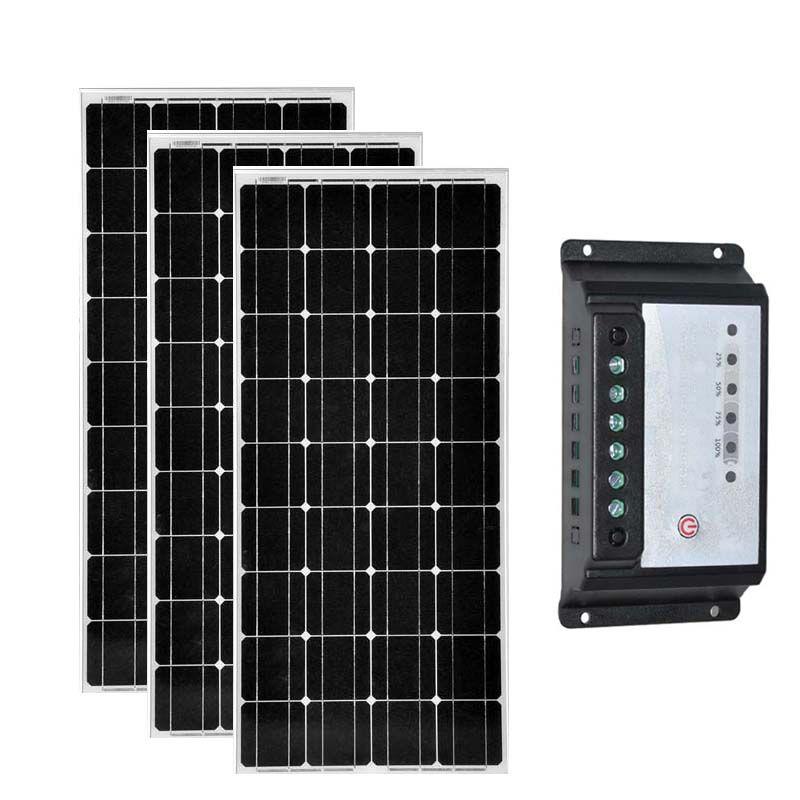 Zonnepaneel 12 v 100 w 3 PCs Zonnepaneel Set 300 w Solar Laderegler 12 v/24 v 20A batterie Ladegerät Caravan Beleuchtung