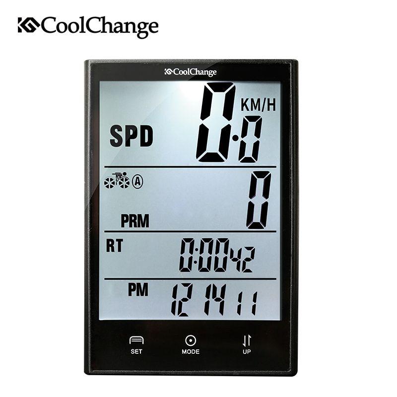 CoolChange Wireless Bike Computer Speedometer Odometer Rainproof Cycling Bicycle Computer Bike Measurable <font><b>Temperature</b></font> Stopwatch