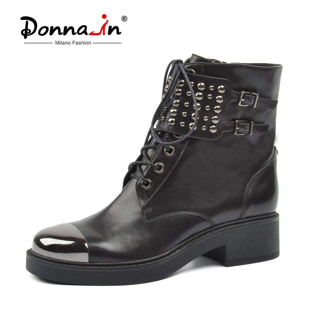 Donna-in Martin Punk Boots Women Genuine Leather Ankle Boots Square Heel Round Toe Lace Up Metal Fashion Black Botas Ladies Shoe