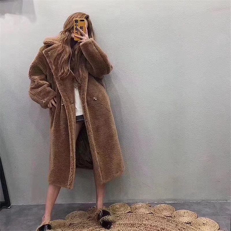 2018 Winter Pelzmantel Teddy Bär Braun Fleece Jacken Frauen Mode Oberbekleidung Weibliche Fuzzy Jacke Dicken Mantel Warme Lange Parka