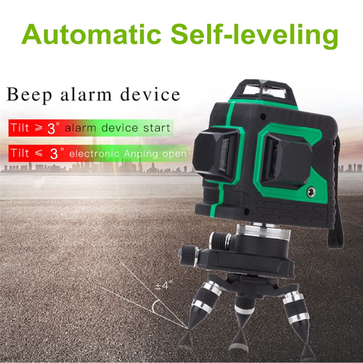 3D 12 Line 360 Degree Laser Plumb-point Function Auto Self Leveling Vertical Horizontal Level Cross GREEN with Tripod Waterproof