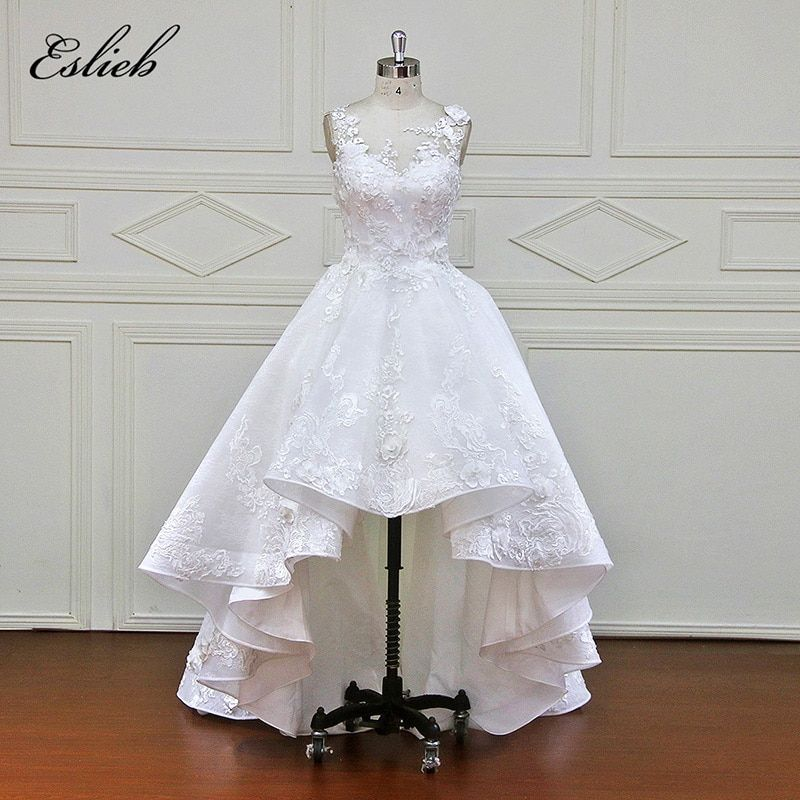 Eslieb Elegnt Custom made Sleeveless Wedding Dresses Flowers Lace Appliques Bridal Gowns Vestido De Novias Wedding Dress XF1702