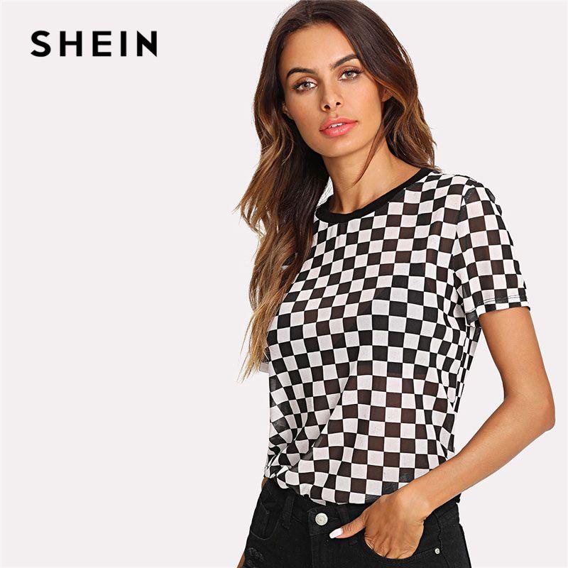 SHEIN Plaid Print Semi Sheer Tee Women Round Neck Short Sleeve Clothing Sexy T-shirt 2018 Summer New Casual Checkered Top Tee