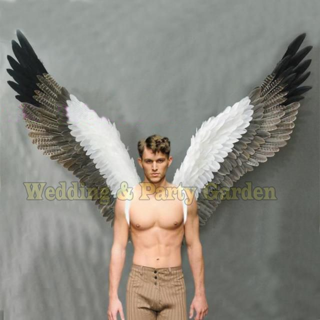 Costumed beautiful white grey cartoon feather angel wings for Fashion show Displays wedding shooting props Cosplay game costume