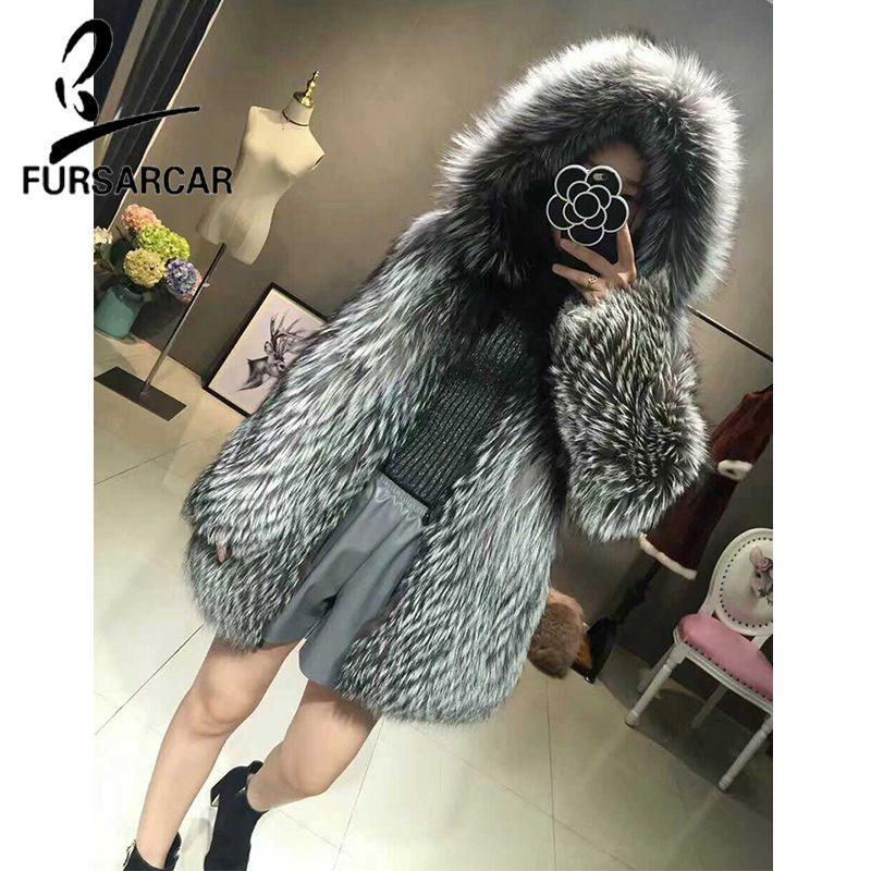 FURSARCAR Fashion Luxury Real Fur Coat For Women Fur Winter Jacket Thick Warm Silver Natural Fox Fur Outwear Real Fur Hood