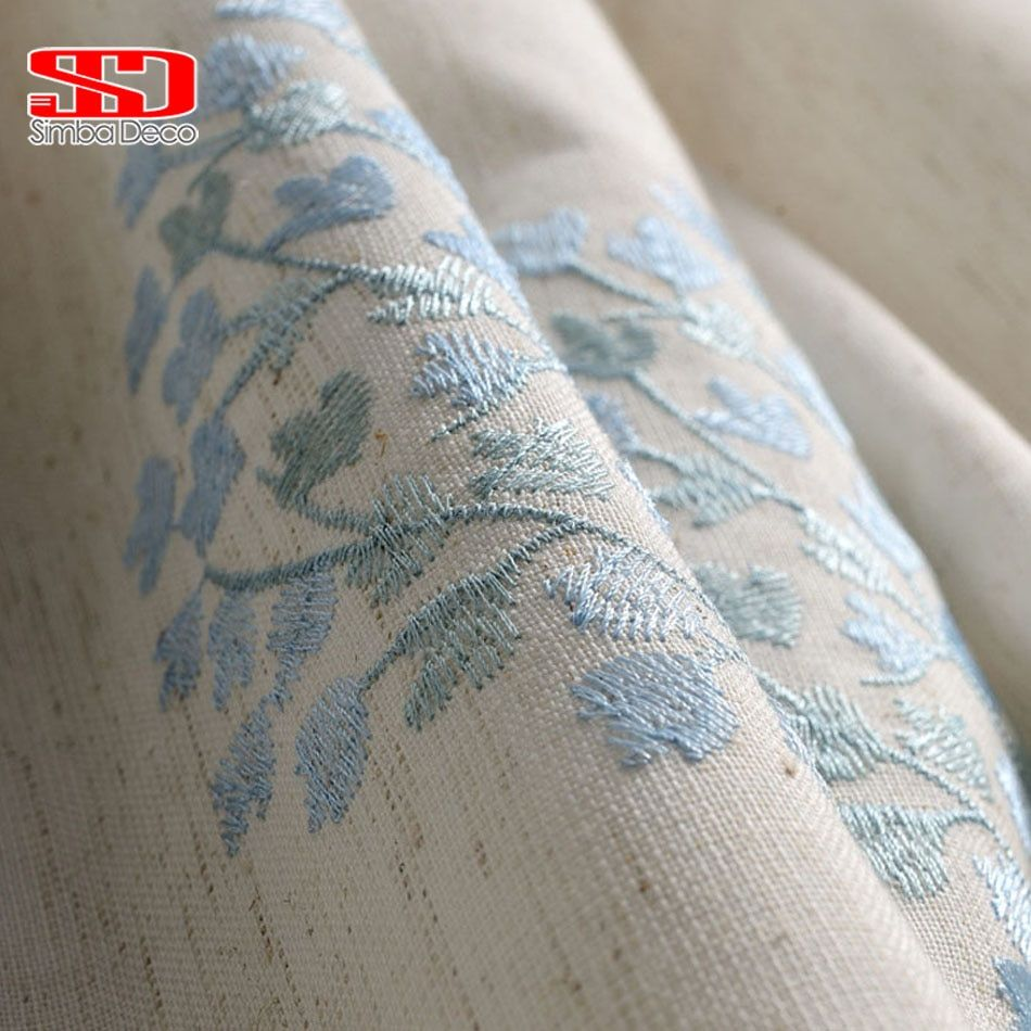 Cotton Linen Curtains Blackout For Bedroom Fabric Floral Blinds Drapes Blue Window Embroidered Chinese Cortinas For Living Room