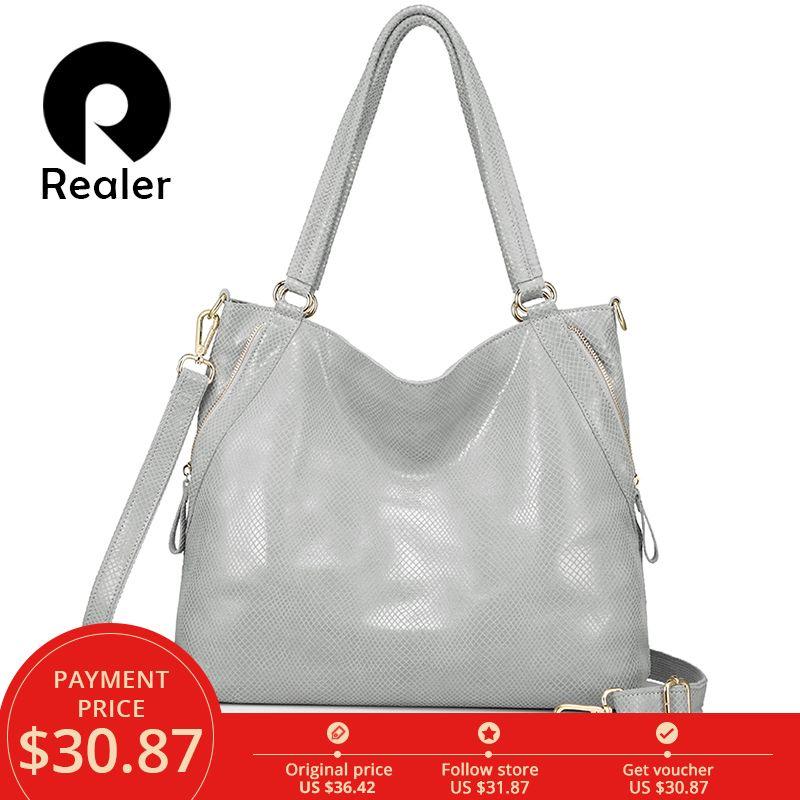 REALER women genuine leather handbag female large totes high quality serpentine print ladies shoulder messenger top-handle bags