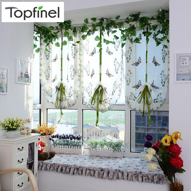 Topfinel papillon tulle fantaisie rideaux romains stores voile brodé rideaux transparents pour cuisine salon le panneau de la chambre