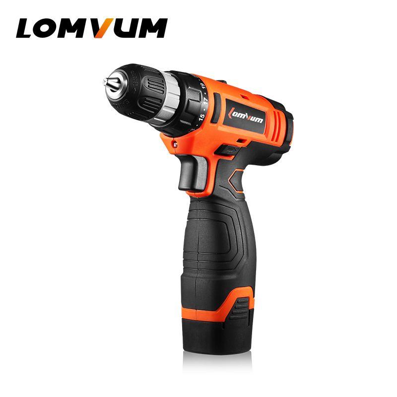 LOMVUM 16V Multi-function Cordless Screwdriver Lithium/ Battery Electric Double Speed Adjustment Mini Drill Press Motor Torsion