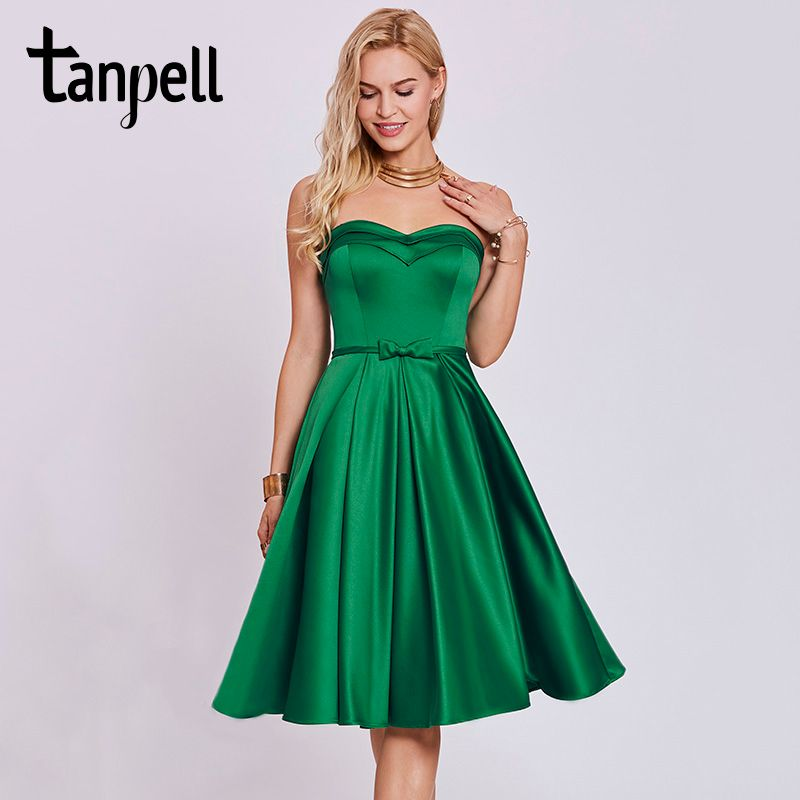 Tanpell sweetheart cocktail dress hunter sleeveless tea length a line gown cheap women homecoming formal short cocktail dresses