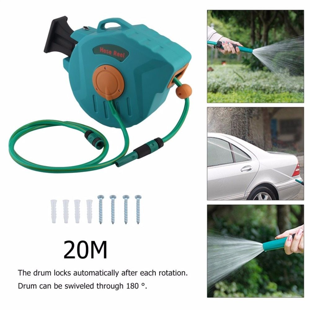 New Automatic Air Water Hose Auto Retractable Washing Cleaning Rolling Machine Garden Supplier Flexible Tube Drum Reel 20M