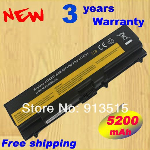 New 5200mah Laptop battery 42T4708 42T4709 42T4710 51J0499 51J0500 for Lenovo ThinkPad E40 E50 T410 T410I T420 T510 SL410 SL510