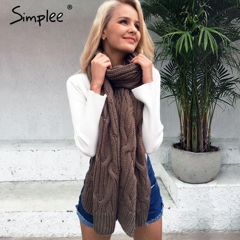 Simplee Warm long face shield knitted women scarf Winter 2017 high quality soft pashmina Fashion autumn handmade khaki shawls