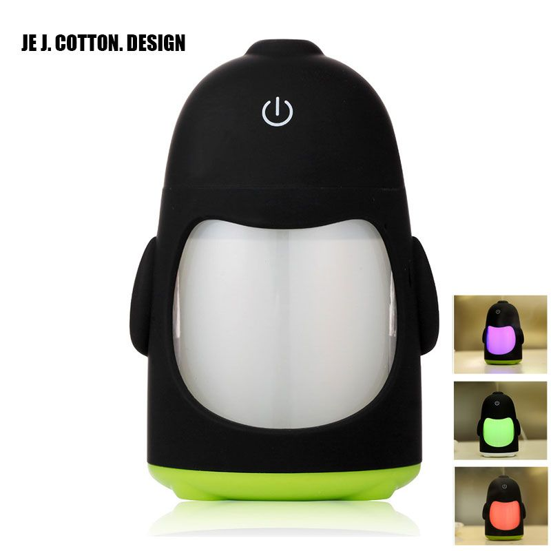 USB Penguin Humidifiers with 7 Color LED Light Air Ultrasonic Humidifier Essential Oil Diffuser Mist Maker Humidificador Gift