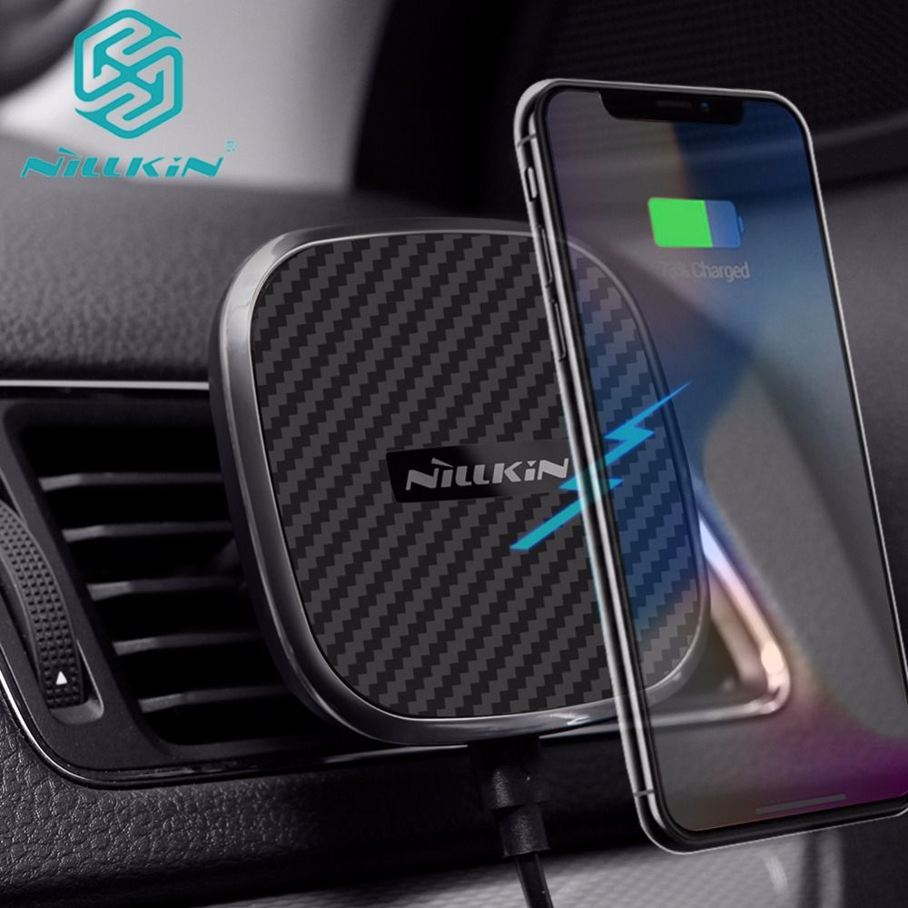 Nilkin Fast Qi Wireless Car Charger for iPhone X 8 Plus Nillkin Magnetic Vehicle Mount Charging Pad for Samsung S9 S8 Plus Note8