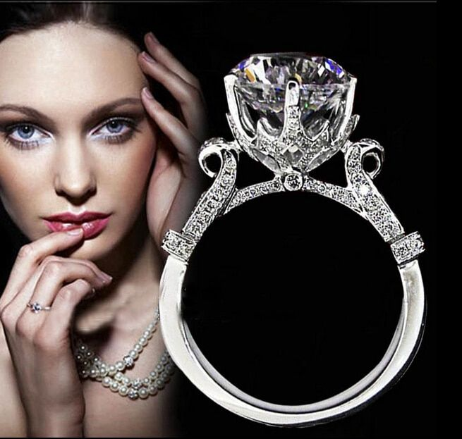 Choucong éternité fait à la main 2ct 5A Zircon Cz 925 en argent Sterling femmes bague de fiançailles de mariage Sz 4-10 cadeau