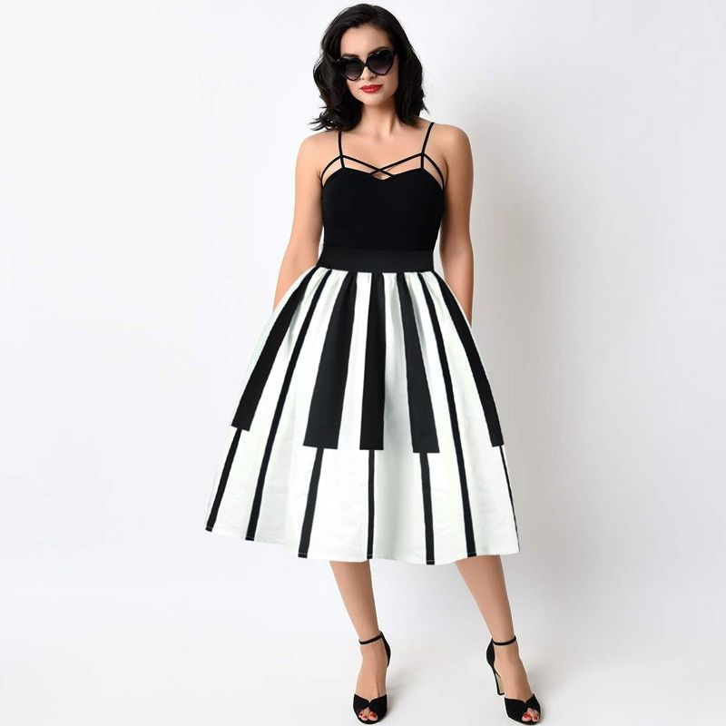 Summer Women Skirt Vintage Piano White Black Patchwork Floral Print High Waist Ball Gown Pleated Midi Skater Skirts Saias