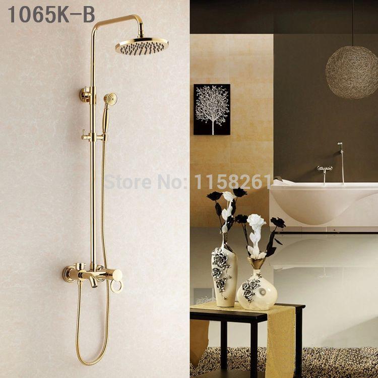 Shower Faucets Gold Brass Bathroom Shower Mixer Tap Faucet Set Rain Shower Head Round Wall Mounted Bathtub Faucet HJ-1065K-B