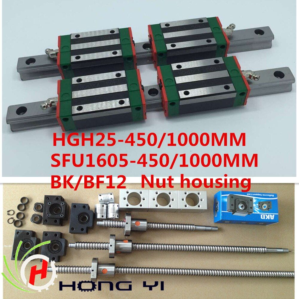 HGR25 Square Linear guide sets 450/1000MM+1xSFU/RM1605 Ballscrew 450/1000MM + BK BF12+nut housing