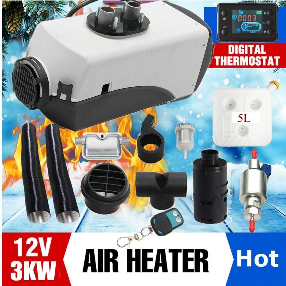 12V 3000W LCD Monitor Air diesels Fuel Heater Single Hole 3KW For Boats Bus Car Heater With Remote Control and Silencer For free