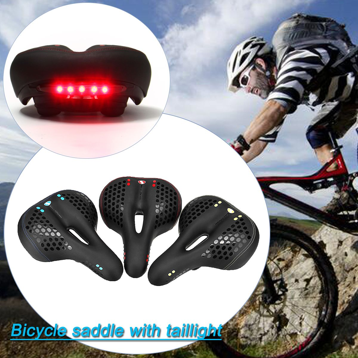 Bicycle Saddle with Tail Light Thicken Widen MTB Bike Saddles Soft Cycling Saddle Bicycle Seat Comfort Cushion