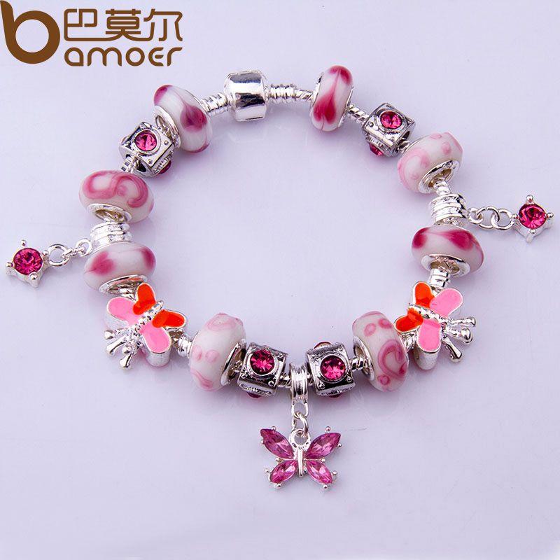 Alibaba Expreso de La Manera Estilo Europeo Charm Pulsera con Perlas de Cristal de Murano de Color Plata DIY Joyería de Moda PA1314