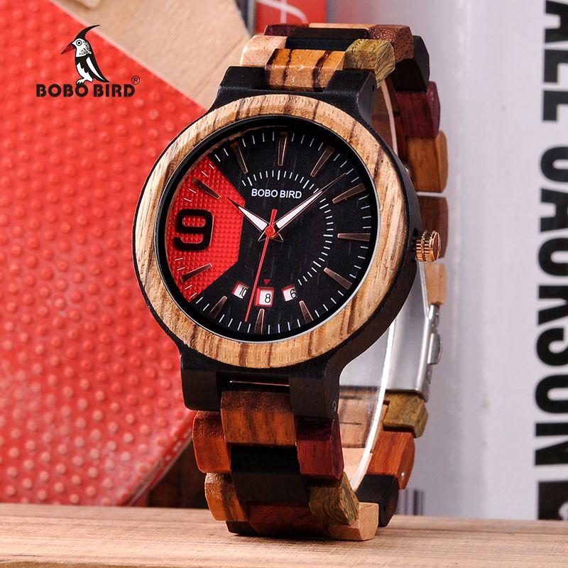BOBO BIRD New Arrivals Wooden Watch Men Show Date Qartz Wrist Watch Male Clock Colorful Strap In Wood Box saat erkek Drop Ship