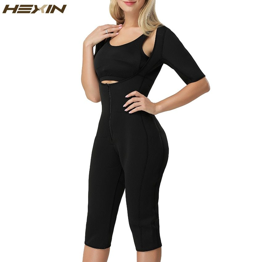 HEXIN Neo Sweat Hot Slimming Neoprene Suit With Sleeves Body Shapers For Weight Loss Sauna Workouts Fajas Shapewear with Trimmer