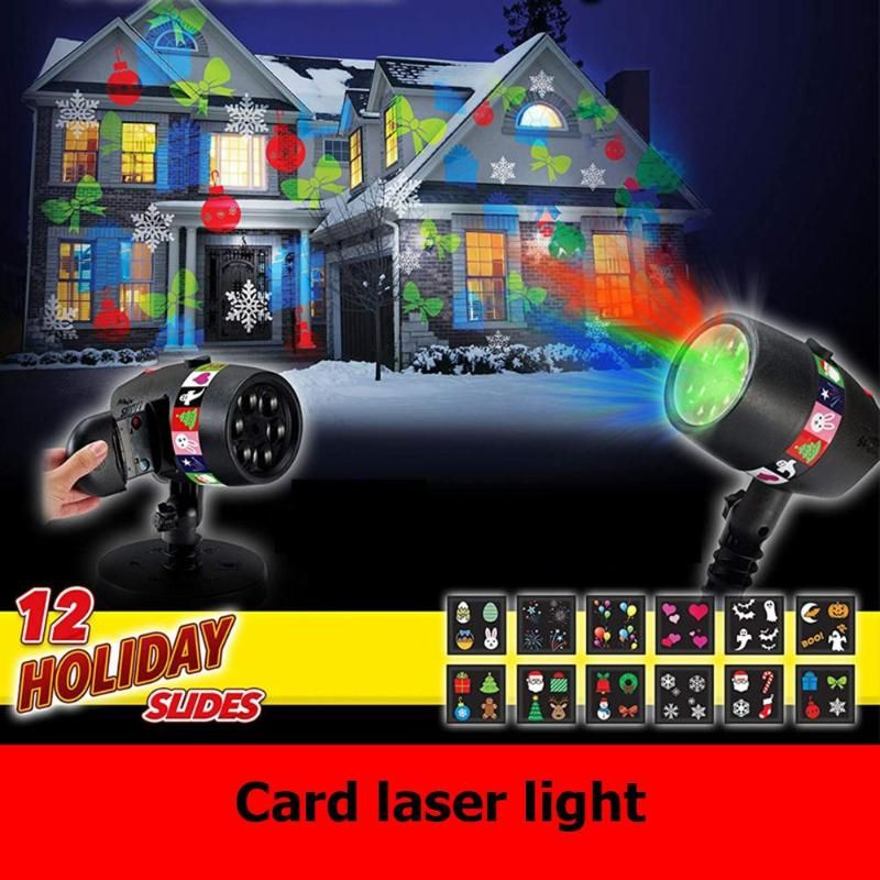 12 Slides Christmas Laser Projector Light USB Charging 15LM stage light Halloween Holiday Outdoors Decoration Lamp