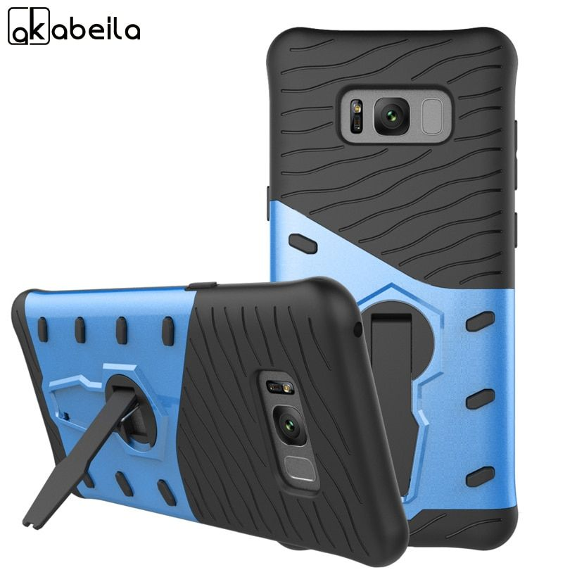 AKABEILA Phone Cases For Samsung Galaxy S8 S8 Plus S8+ SM-G955 SAM-S8 Case PC TPU 2in1 Hybrid Armor Cover Shield Smartphone Hood
