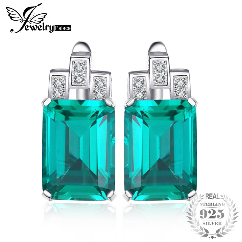 JewelryPalace Luxury 7.6ct Nano Russian Simulated Emerald 925 Sterling Silver Clip Earrings <font><b>Gift</b></font> For Women Hot Selling