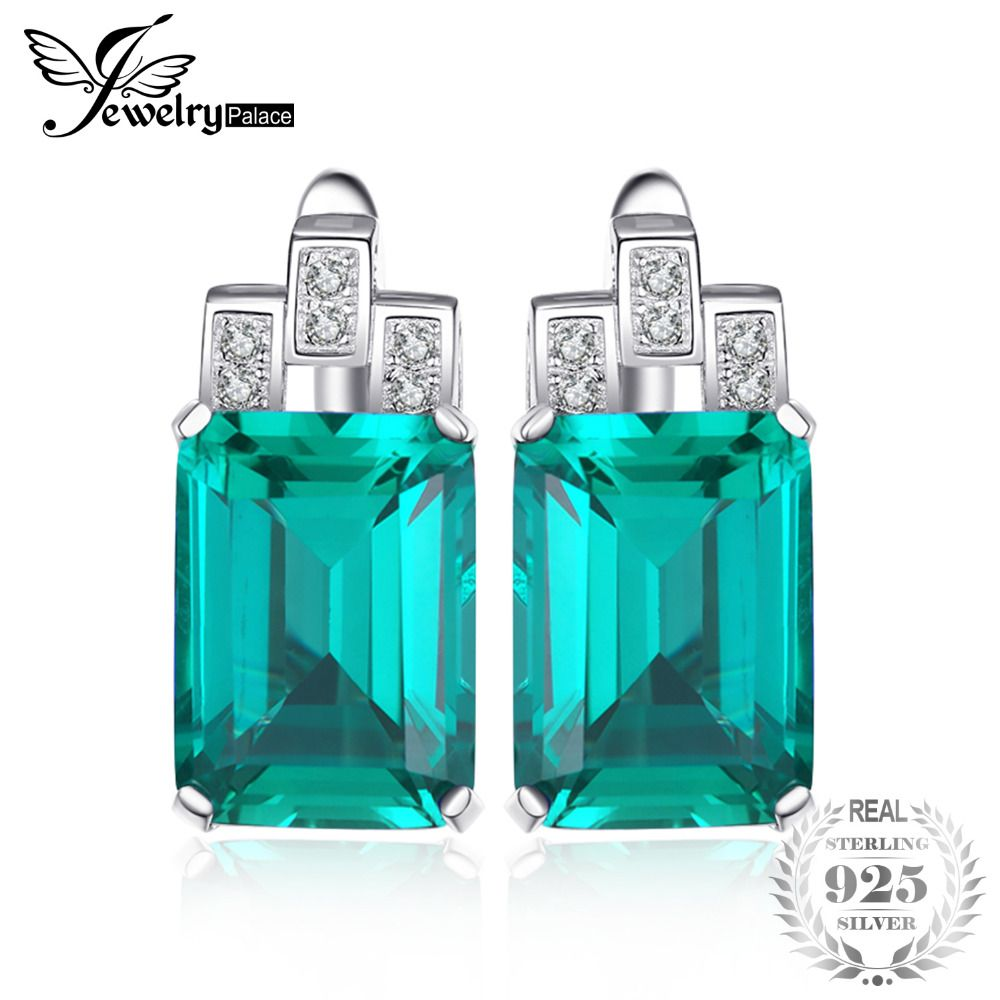JewelryPalace Luxury 7.6ct Nano Russian <font><b>Simulated</b></font> Emerald 925 Sterling Silver Clip Earrings Gift For Women Hot Selling