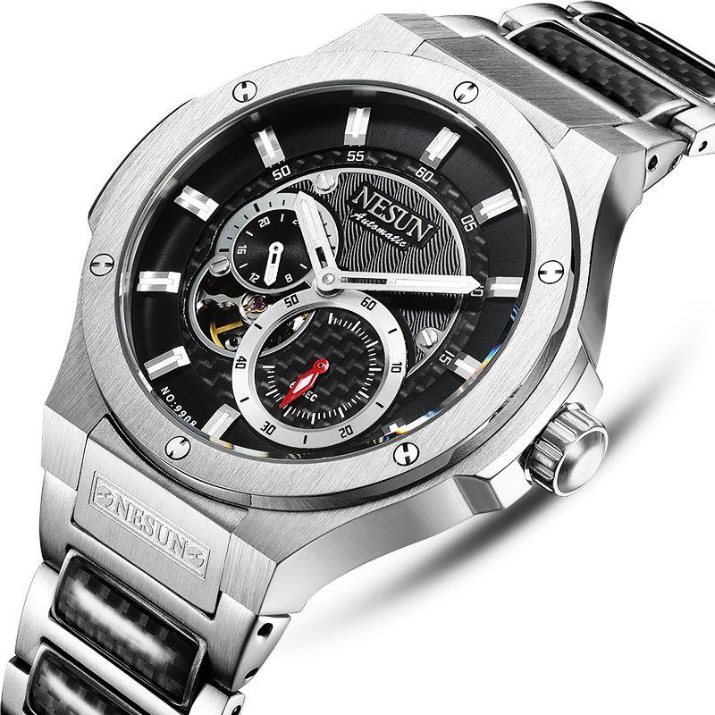 Switzerland Luxury Brand NESUN Watch Men Skeleton Auto Self-wind Mechanical Men relogio masculino Waterproof clock N9908-2