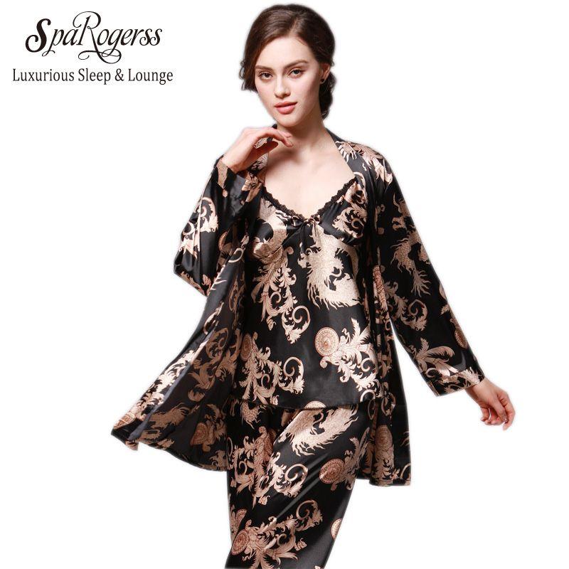 SpaRogerss 3 Pcs Robe Pajama Pants Sets 2017 New Fashion Ladies Sleep Lounge Dragon Print Night Shirt <font><b>Female</b></font> Pajama Sets TZ013