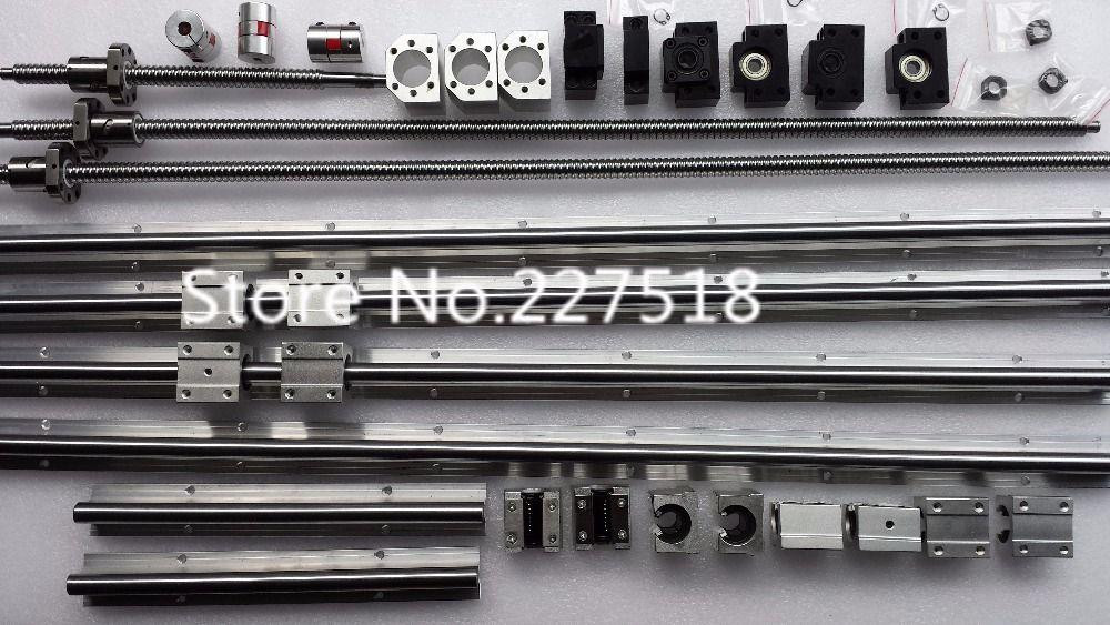 6 sätze linearschiene SBR16 L300/1500/1500mm + SFU1605-350/1550/1550mm kugelgewinde + 3 BK12/BF12 + 3 DSG16H mutter + 3 Koppler für cnc