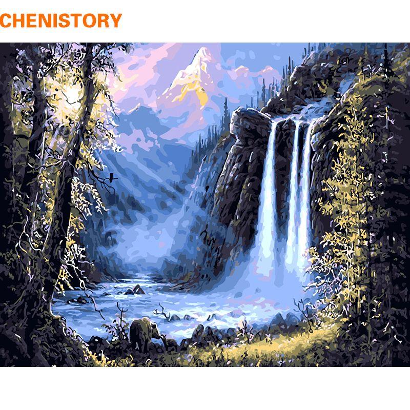 CHENISTORY montagne cascade paysage peinture à la main par numéros Kits dessin moderne mur Art image pour décor à la maison 40x50cm Arts
