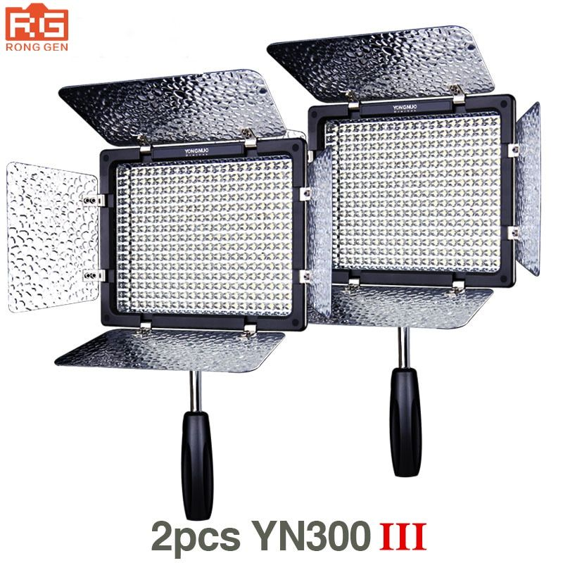 2pcs Yongnuo YN300 III YN-300 III 3200k-5500K CRI95+ Pro LED Video Lights Support AC Adapter & Remote Control APP Control