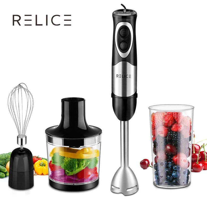 RELICE Powerful Electric Handheld Blender 500W Multi-functional Hand Mixer With Chopper, Whisker and Cup Food Mixer For Kitchen
